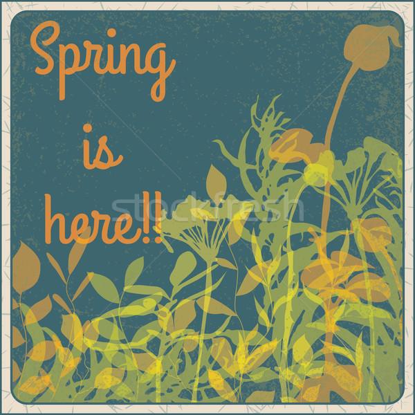 Bahar burada bağbozumu imzalamak çiçekler doku Stok fotoğraf © wingedcats