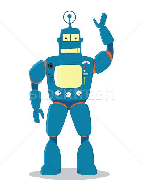 Retro vriendelijk Blauw robot speelgoed metaal Stockfoto © wingedcats