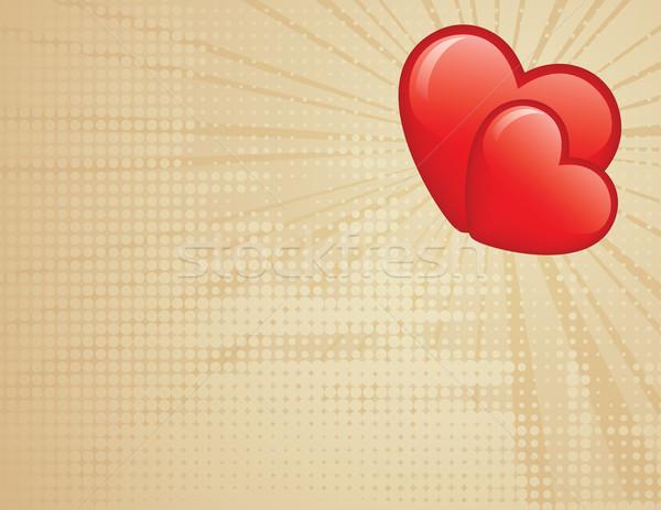 Stockfoto: Twee · harten · valentijnsdag · eps · globale · kleuren