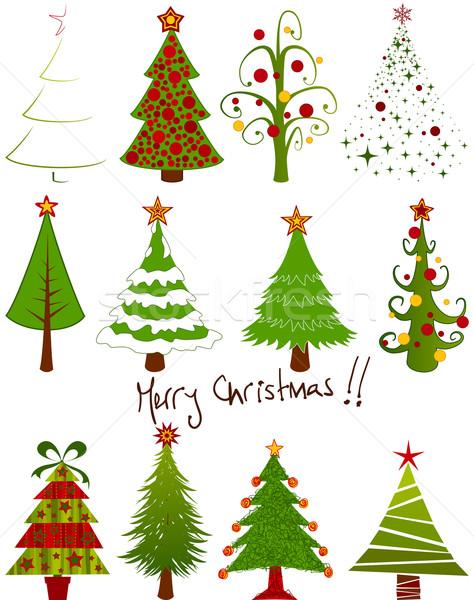 Noel ağacı ayarlamak oniki yalıtılmış doku yeşil Stok fotoğraf © wingedcats