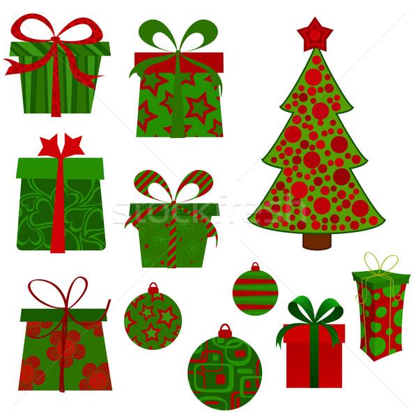 Рождества набор представляет дерево вечеринка любви Сток-фото © wingedcats
