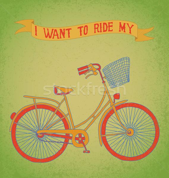 велосипед баннер женщины велосипедов Сток-фото © wingedcats