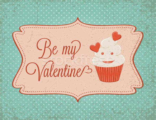 Valentin nap kártya minitorta étel esküvő terv Stock fotó © wingedcats