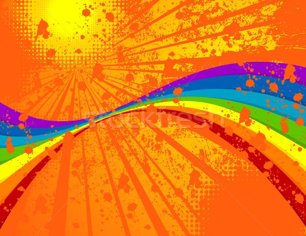 летнее время лет Гранж радуга стены солнце Сток-фото © wingedcats
