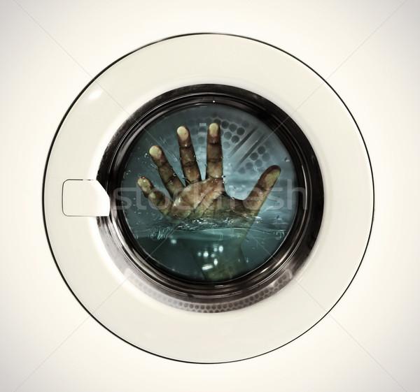 ストックフォト: 洗濯 · 汚い · 手 · 洗濯機 · 業界 · 油