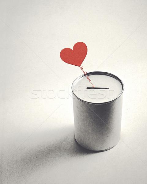 Coração símbolo doação lata estilo retro caixa Foto stock © winnond