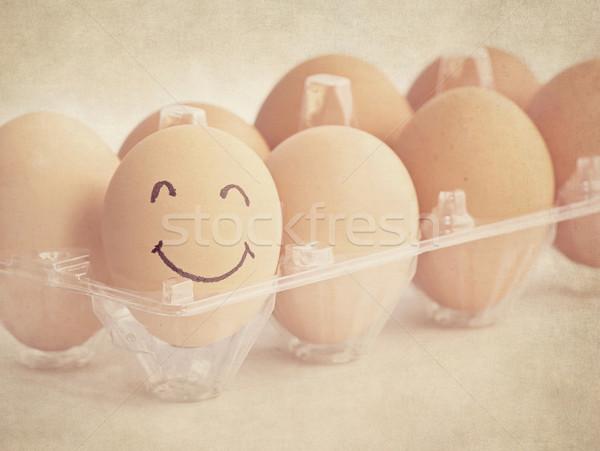 スマイリー 卵 笑顔 レトロスタイル 笑顔 顔 ストックフォト © winnond