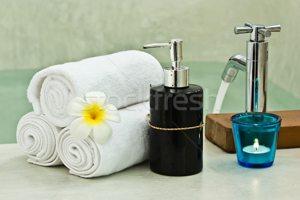 Kąpieli czasu piękna masażu relaks butelki Zdjęcia stock © winnond