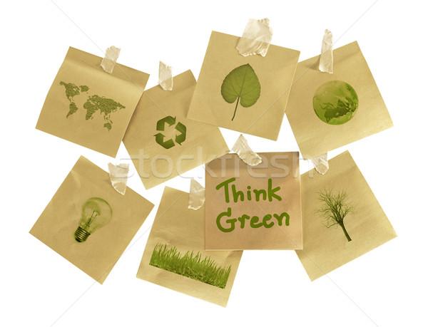 Pensar verde ambiental interesse postá-lo globo Foto stock © winnond