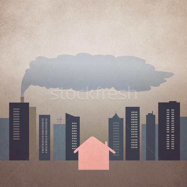 Cidade poluição casa retro efeito céu Foto stock © winnond