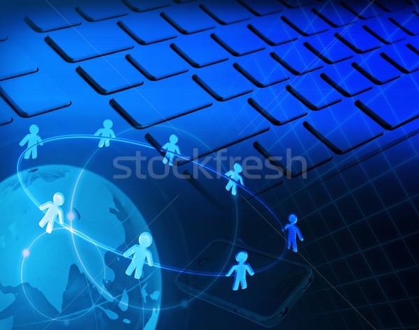 Rede social negócio tecnologia rede azul mídia Foto stock © winnond