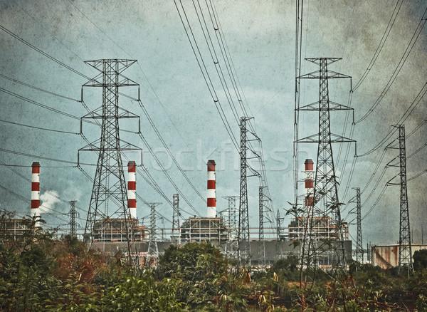 Elektryczne elektrownia zanieczyszczenia vintage stylu budynku Zdjęcia stock © winnond