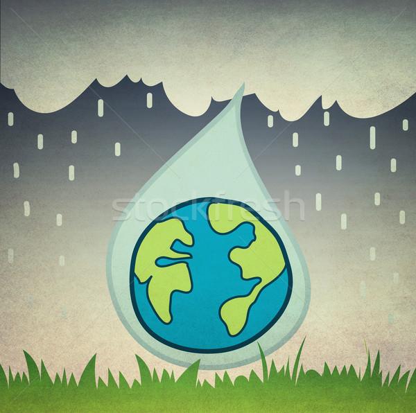 Kropla deszczu ziemi spadek w stylu retro wody wiosną Zdjęcia stock © winnond