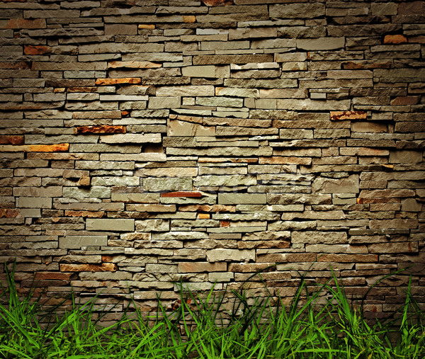 Herbe mur de briques maison construction mur maison Photo stock © winnond