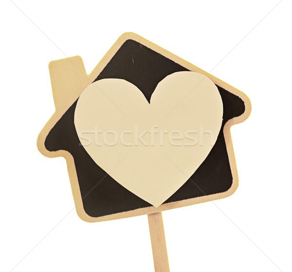 Casa amor coração símbolo papel cuidar Foto stock © winnond