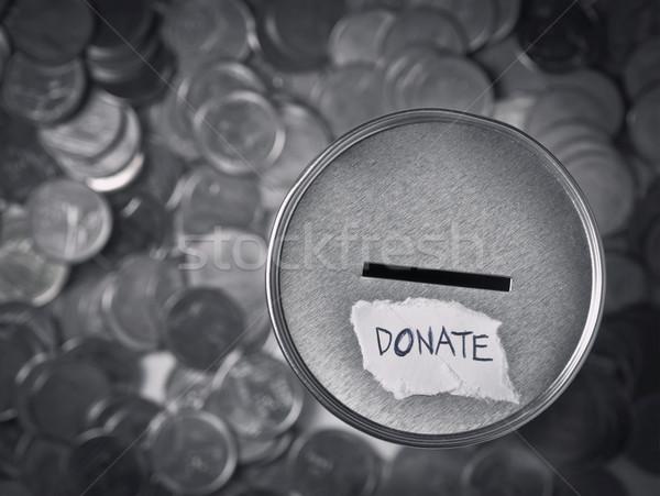 Darowizna polu monet ceny monety puszka Zdjęcia stock © winnond