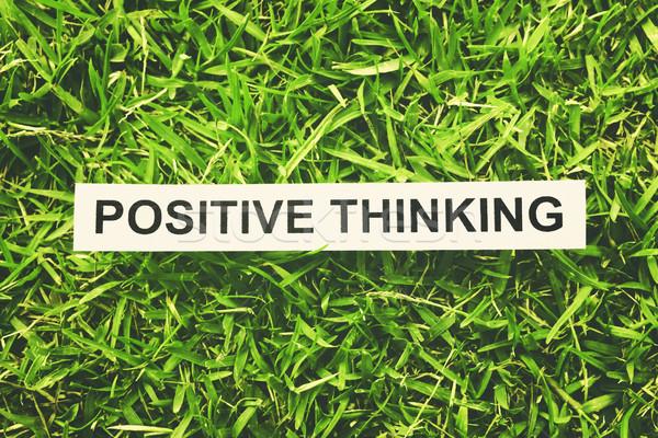 Positivo pensando palabra papel hierba verde estilo retro Foto stock © winnond