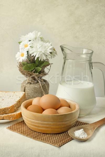 Jaj tabeli wiosną żywności kawy charakter Zdjęcia stock © winnond
