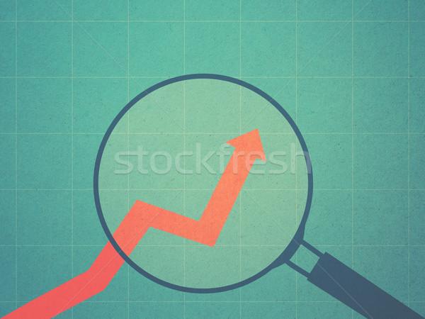 ビジネス 成長 グラフ 虫眼鏡 レトロスタイル 背景 ストックフォト © winnond