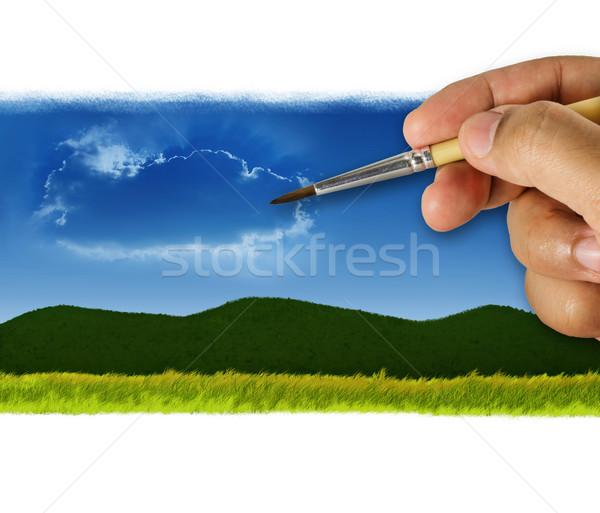 塗料 自然 世界 ツリー デザイン 地球 ストックフォト © winnond