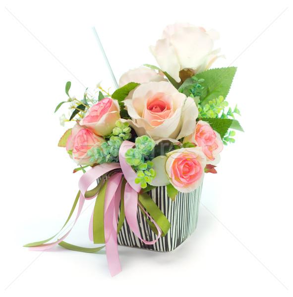 Sztuczny kwiaty bukiet projektu liści dar Zdjęcia stock © winnond