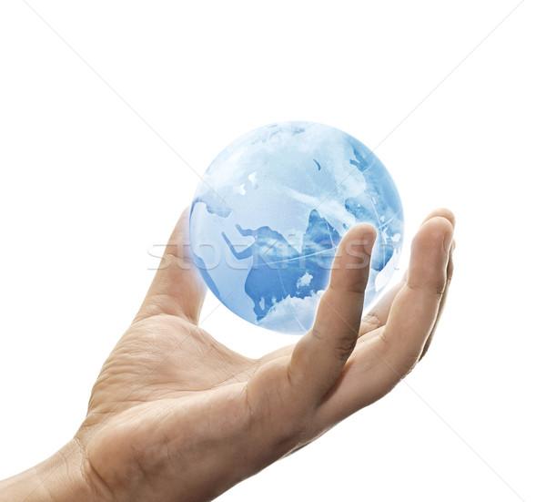 保存 青 地球 青空 世界中 手 ストックフォト © winnond