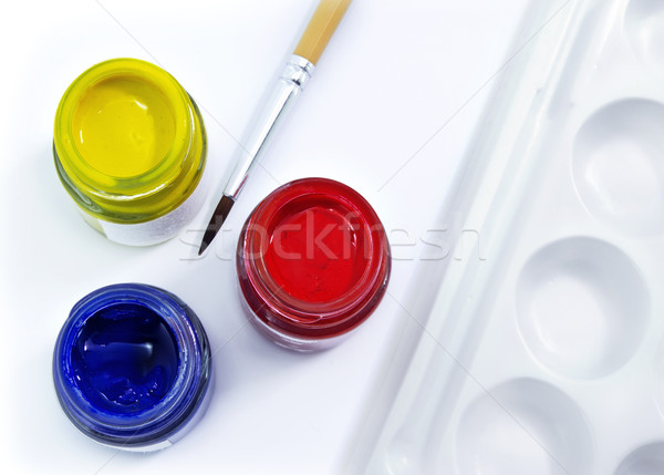 Primário cor escove paleta pintar arte Foto stock © winnond