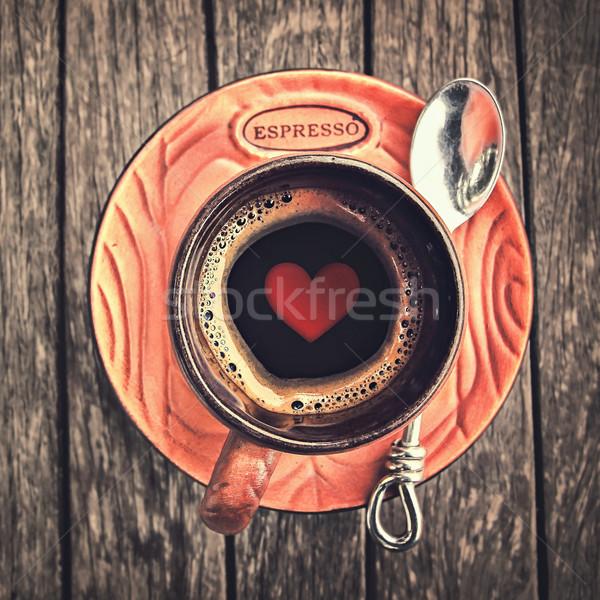 Amor café expresso forma de coração copo estilo retro madeira Foto stock © winnond