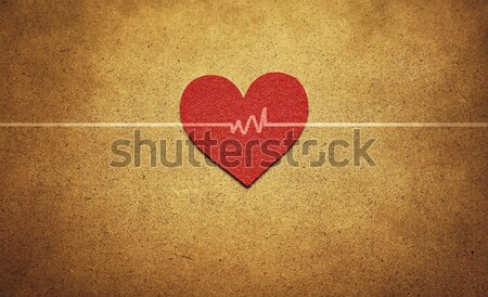 red heart and heartbeat Stock photo © winnond