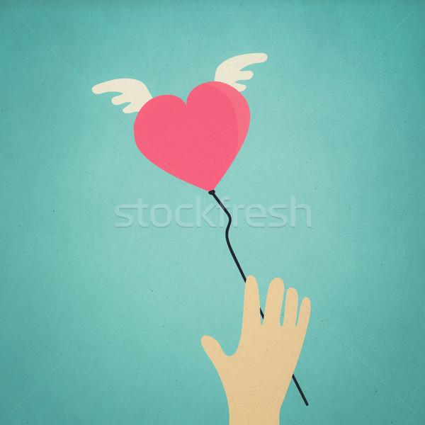 Latać serca symbol niebo w stylu retro streszczenie Zdjęcia stock © winnond