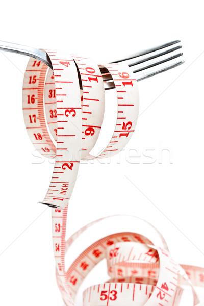 フォーク 巻き尺 光 背景 脂肪 白 ストックフォト © winnond
