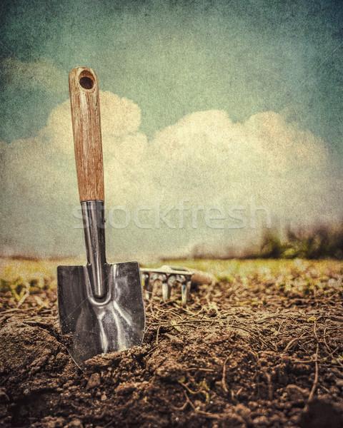 Ferramentas solo retro efeito trabalhar Foto stock © winnond