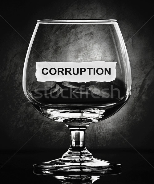 Corrupção papel vidro escuro dinheiro objeto Foto stock © winnond