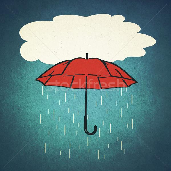 Deszcz parasol spadek czerwony w stylu retro tekstury Zdjęcia stock © winnond
