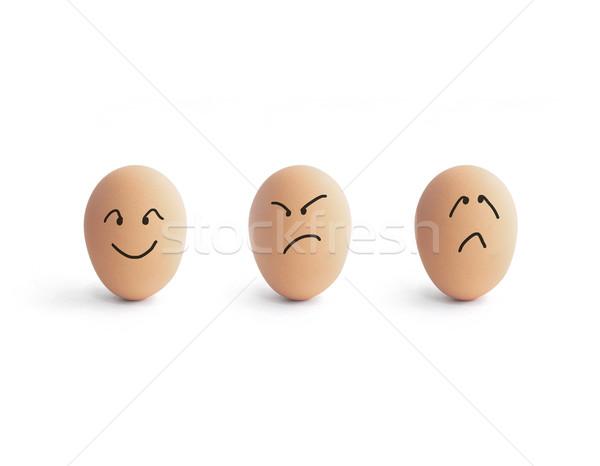 Emocji jaj inny biały smutne zabawy Zdjęcia stock © winnond
