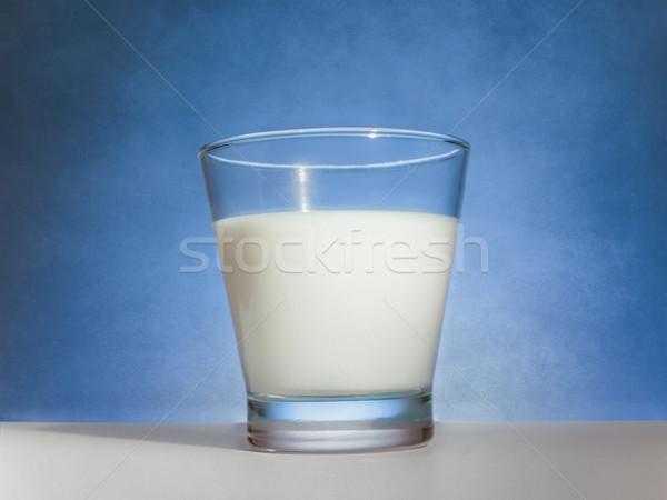 Vidro leite azul estilo retro comida saúde Foto stock © winnond