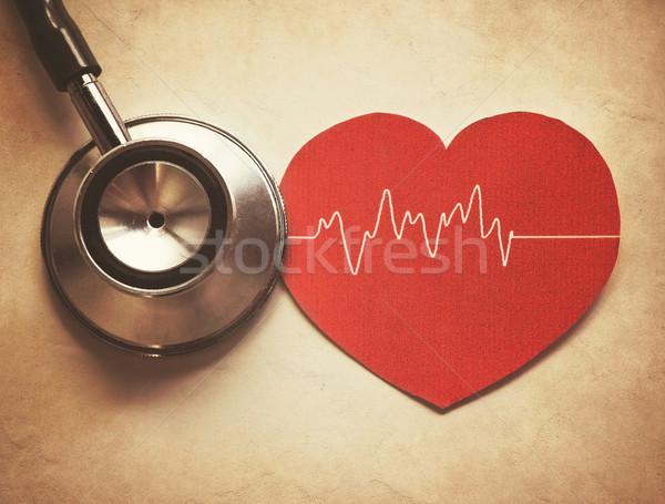 Coração estetoscópio vintage estilo saúde hospital Foto stock © winnond