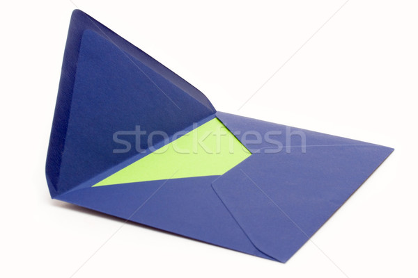 Azul envelope verde papel abrir isolado Foto stock © winterling