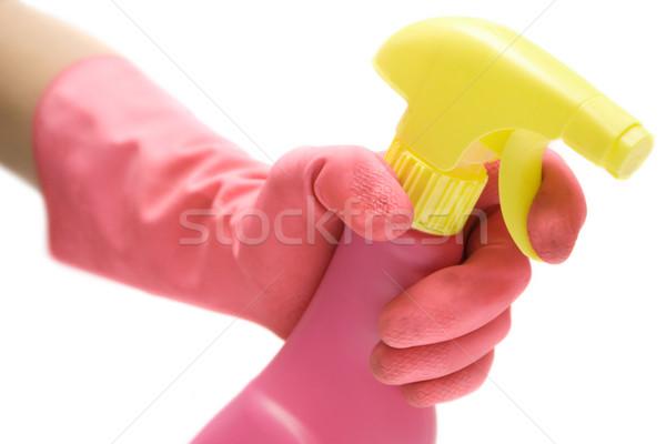 Nettoyage salle de bain rose gants agent isolé Photo stock © winterling