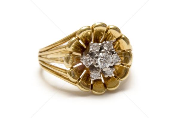 Gyémánt arany gyűrű gyémántok izolált fehér Stock fotó © winterling
