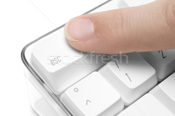 Flucht Zeigefinger Taste weiß Tastatur Stock foto © winterling