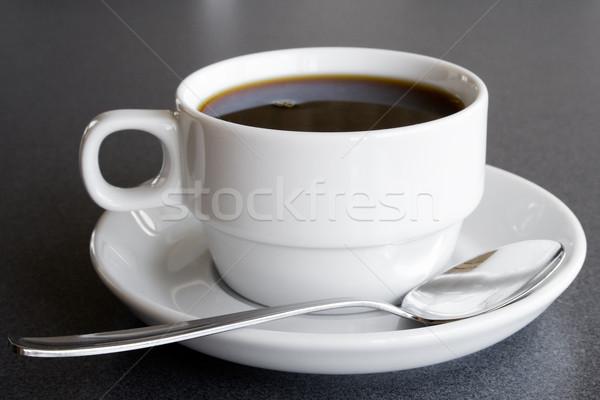 Stock fotó: Csésze · feketekávé · kávé · teáskanál · asztal · tea