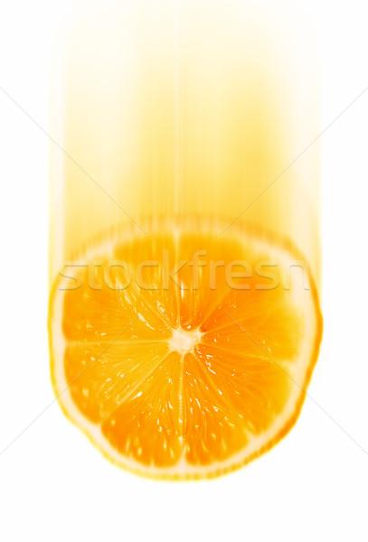 Vallen orange slice geïsoleerd witte voedsel Stockfoto © winterling