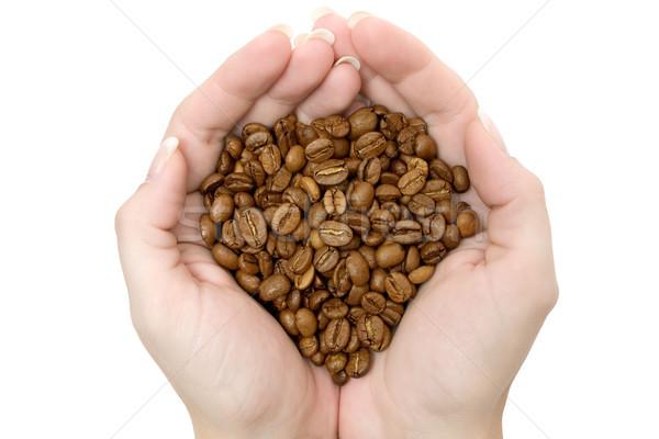 Koffiebonen geïsoleerd witte voedsel hand cafe Stockfoto © winterling