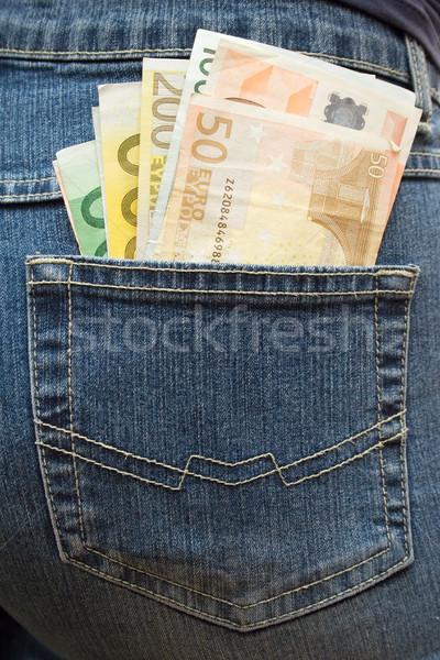 Bourré poche euros jeans Photo stock © winterling