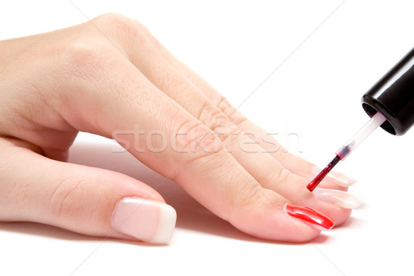 Malerei Fingernägel Schmelz weiß seicht Stock foto © winterling