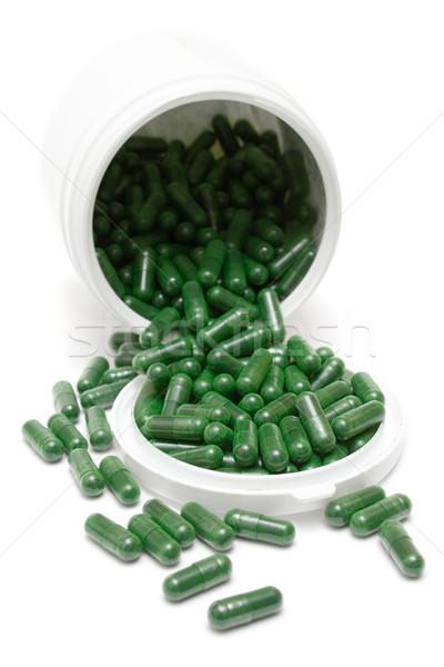 банка зеленый таблетки медицина изолированный белый Сток-фото © winterling