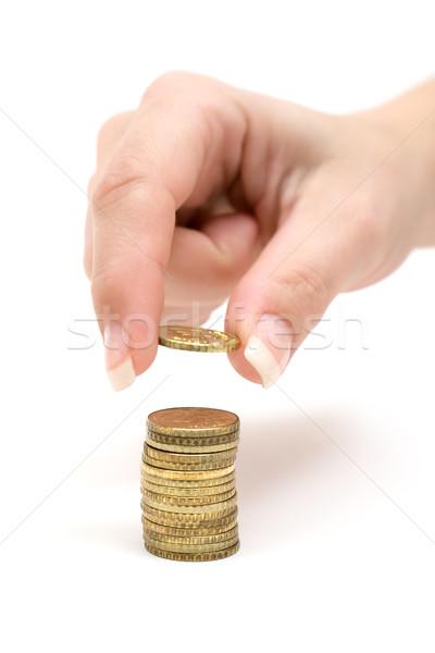 Munten vrouwelijke hand witte vrouw geld Stockfoto © winterling