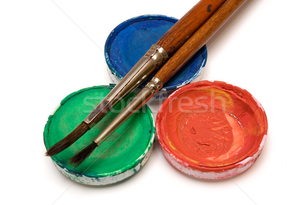 Stock photo: RGB Watercolors with Paintbrushes