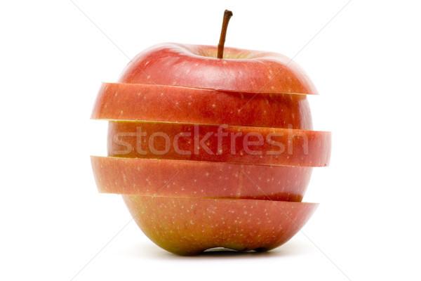 Foto stock: Maçã · vermelha · saudável · fruto · isolado · branco